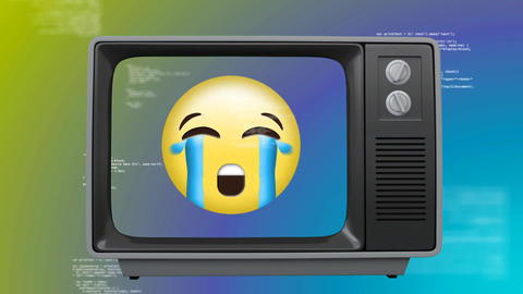 Front view of an old TV with an crying emoticon on screen Animation