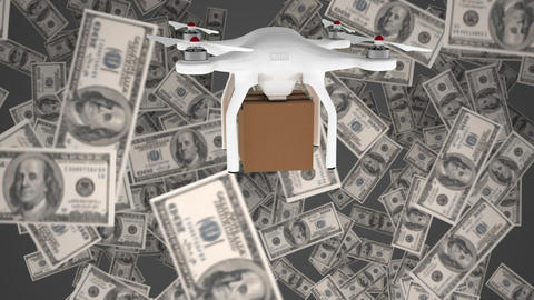 Animation of a delivery drone against money Animation