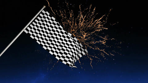 Racing flag with fireworks Animation