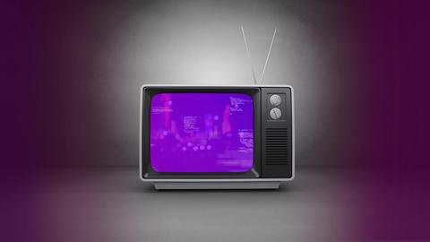 Old TV with cityscape on the screen against grey and purple background Animation