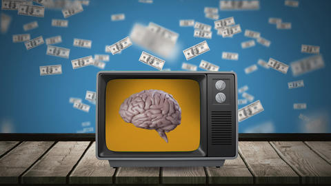 Brain on a television screen Animation