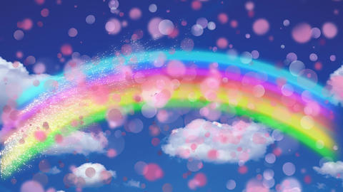 Rainbow in the blue sky against bokeh effect Animation