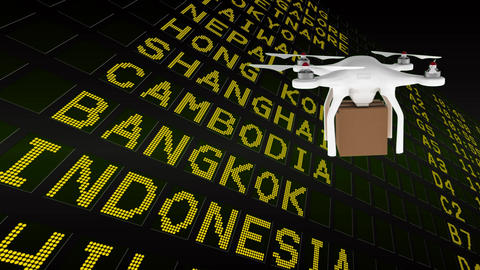 Drone holding cardboard with country names behind Animation