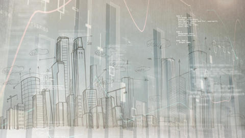 Bar chart with city landscape drawn Animation