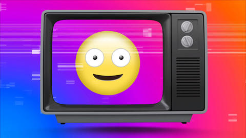 Old TV post showing a crazy emoji against a multi color background with TV sizzling Animation