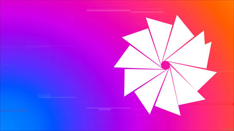 Triangles forming sun on colorful background Animation