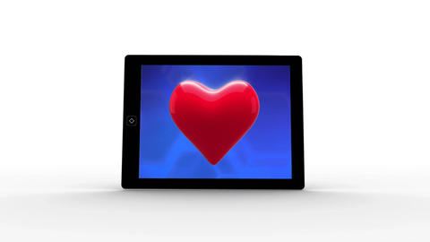 Numeric tablet with red heart in blue background Animation