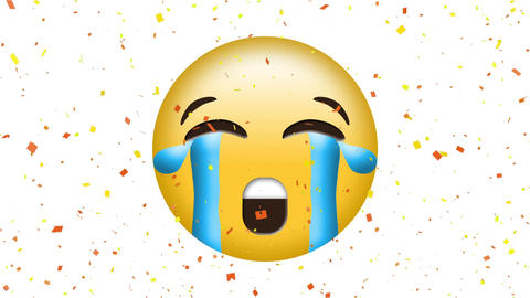 Animation of crying emoji with streaming tears Animation