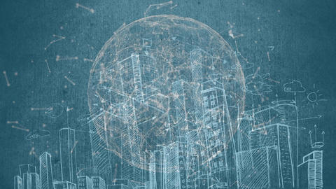 Drawing landscape city diagram animation Animation