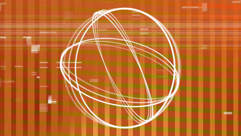 Circle turning aroung itself forming a ball while sizzle on orange background Animation