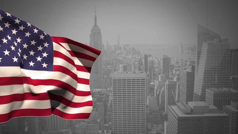 American national falg waving Animation