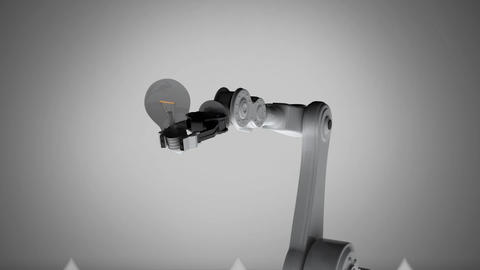Robotic arm holding glowing light bulb against arrows pointing up Animation