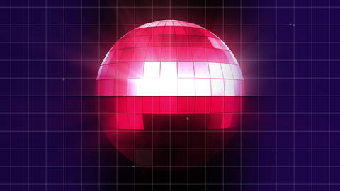 Spinning pink disco ball with blue and pink background Animation