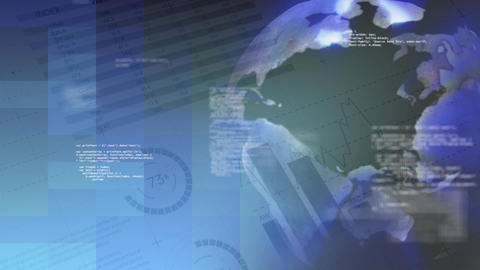 Spinning globe surrounded by codes and financial data Animation