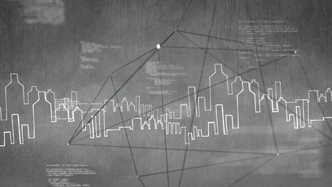 Digitally generated animation of a drawing city against grey background Animation