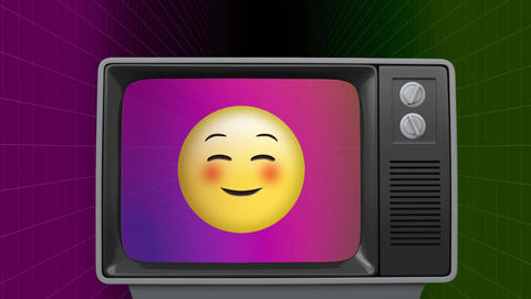 Retro TV showing happy emoji Animation