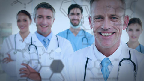 Close of of a medical team smiling Animation