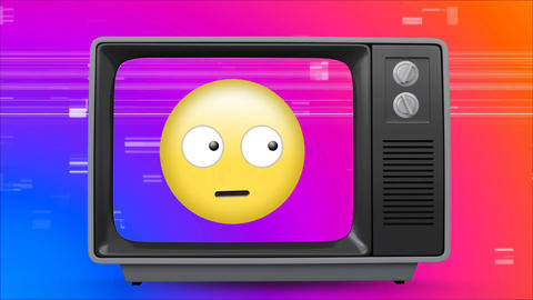 Old TV with Emoji looking around with eyes moving on the screen Animation
