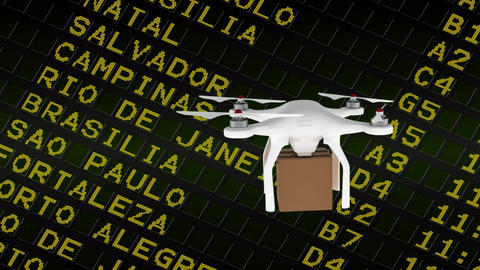Delivery drone against the flight schedule table Animation