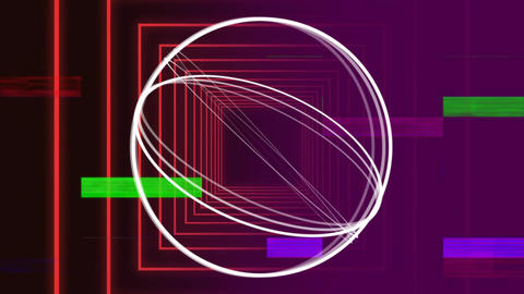Circle rotating around itself against square shapes Animation