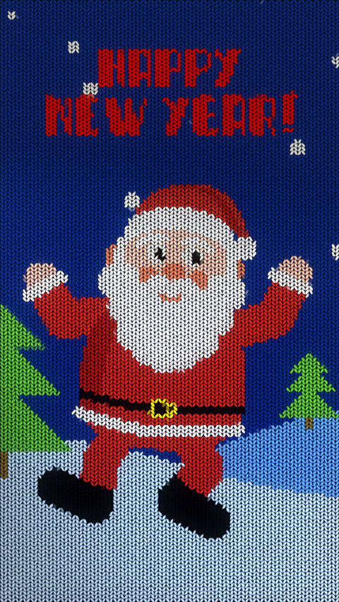 vertical knitted christmas animation. joyful bouncing santa Animation