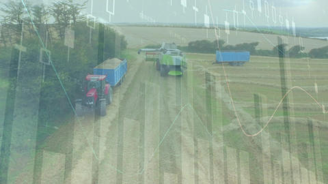 Industrial trucks in an agricultural field Animation