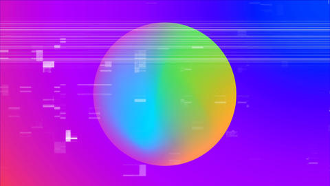Front view of a multi coloured ball against shade from pink to purple Animation