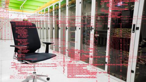 Office chair in a hallway and digital codes Animation