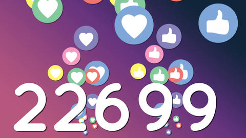 Numbers in large font with social media icons 4k Animation