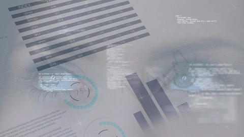 Data charts and graphs scrolling on a close up view of woman eyes Animation