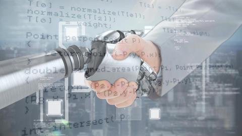Handshake between robotic and human hands Animation