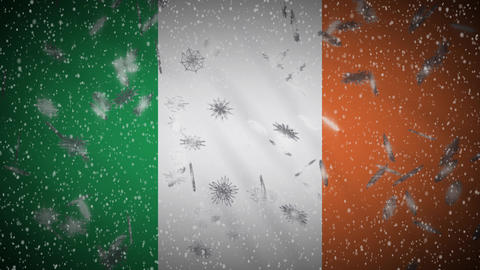 Ireland flag falling snow loopable, New Year and Christmas background, loop Animation
