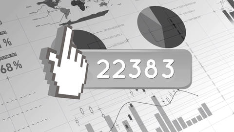 Hand pointing icon with numbers increasing 4k Animation