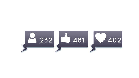 Social media icons with numbers 4k Animation