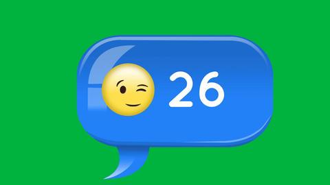 Winking emoji with message notification increasing 4k Animation