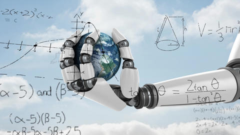Mathematical equation and a robotic hand holding a globe Animation