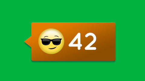 Smiling face with sunglasses emoji with number count increasing 4k Animation