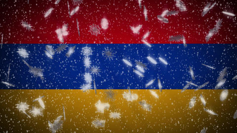 Armenia flag falling snow loopable, New Year and Christmas background, loop Animation