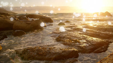Bokeh and sunset in the sea Animation