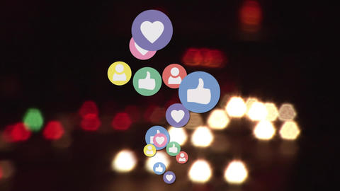 Social media icons and highway Animation