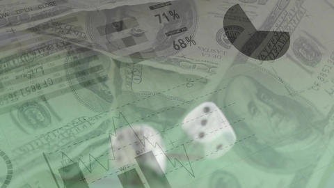 Rolling dice on money, graphs, and charts Animation