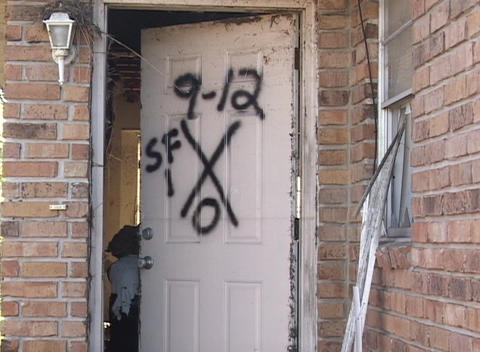 The markings on the door of a house shows the number of... Stock Video Footage