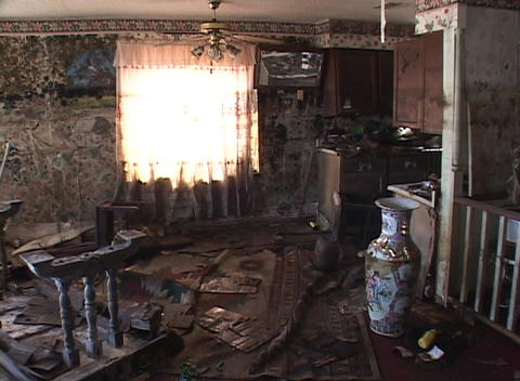 A living room shows the destruction of the flood waters from Hurricane Katrina Footage