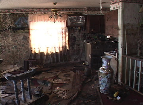 A living room shows the destruction of the flood waters... Stock Video Footage