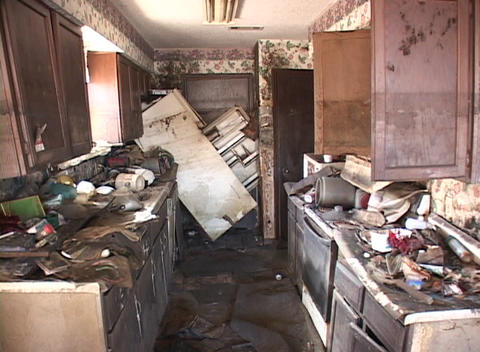A kitchen shows the destructive power of the flood waters from Hurricane Katrina Footage