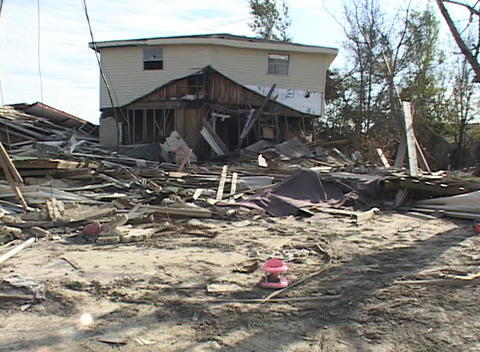 A Mississippi home shows the destruction following Hurricane Katrina Footage