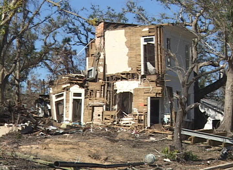 A damaged house shows the destruction of Hurricane Katrina Stock Video Footage