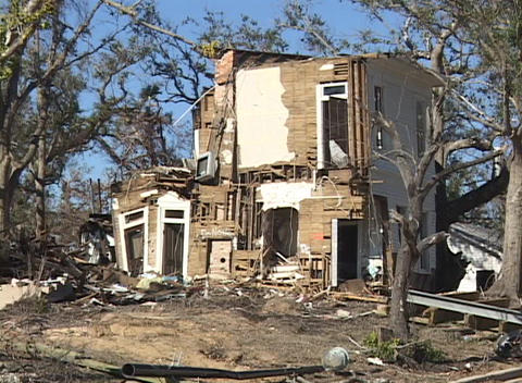 A damaged house shows the destruction of Hurricane Katrina Footage