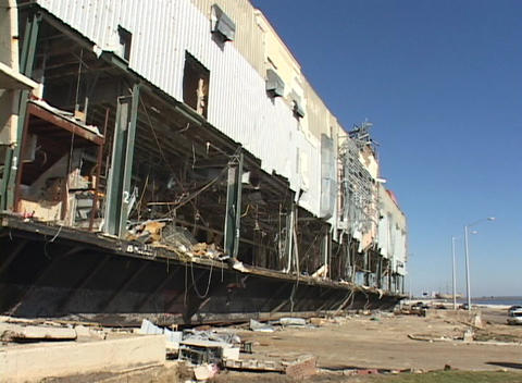 A damaged casino near Biloxi, Mississippi shows the destruction of Hurricane Katrina Footage