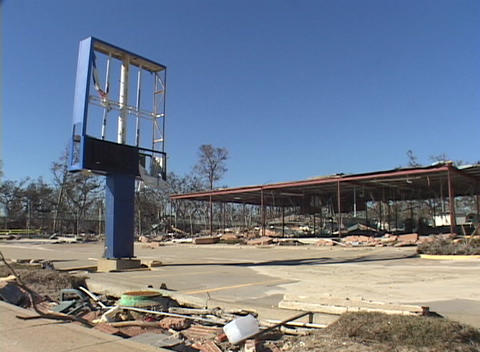 A destroyed commercial building shows the destruction caused by Hurricane Katrina Footage